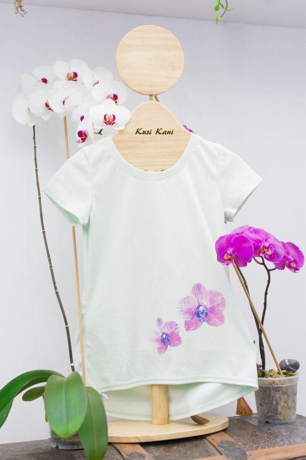 foto de polo orquídeas menta - tienda de ropa ecológica para mujeres