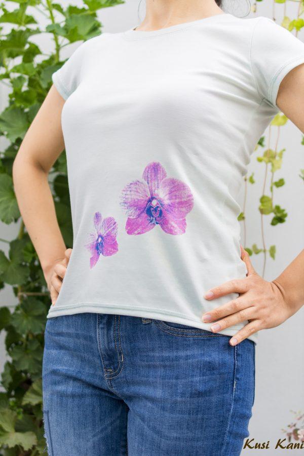 polo orquídeas menta - tienda de ropa ecológica para mujeres